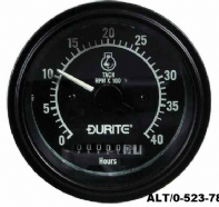 DURITE<BR> 12/24V Alternator Pick-up Tachometer with Hour Meter - 0-4000RPM<BR>ALT/0-523-78